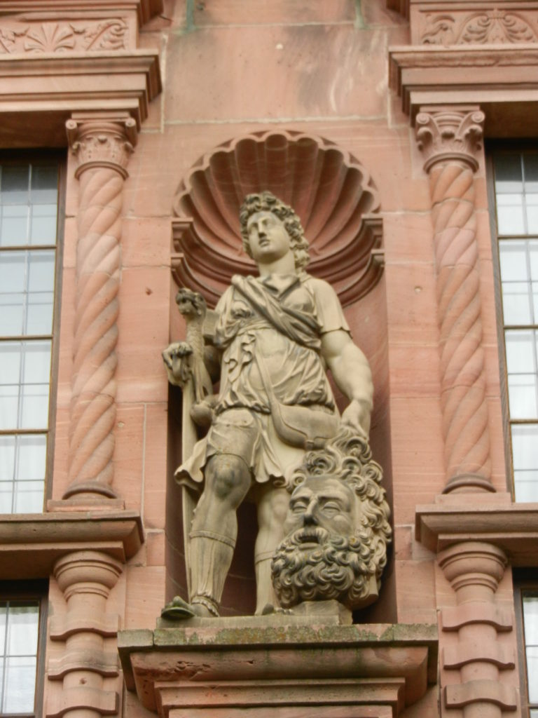 David And Goliath Statue Heidelberg Castle Germany The