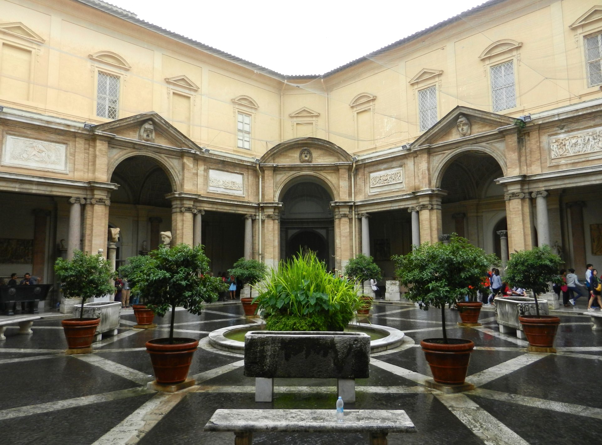 Octagonal Courtyard Vatican Italy The Incredibly Long